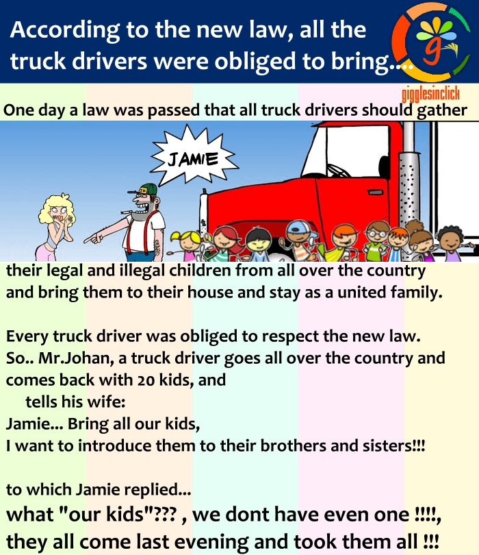 truck driver, wife, kids, jokes, giggles, gigglesinclick, funny images