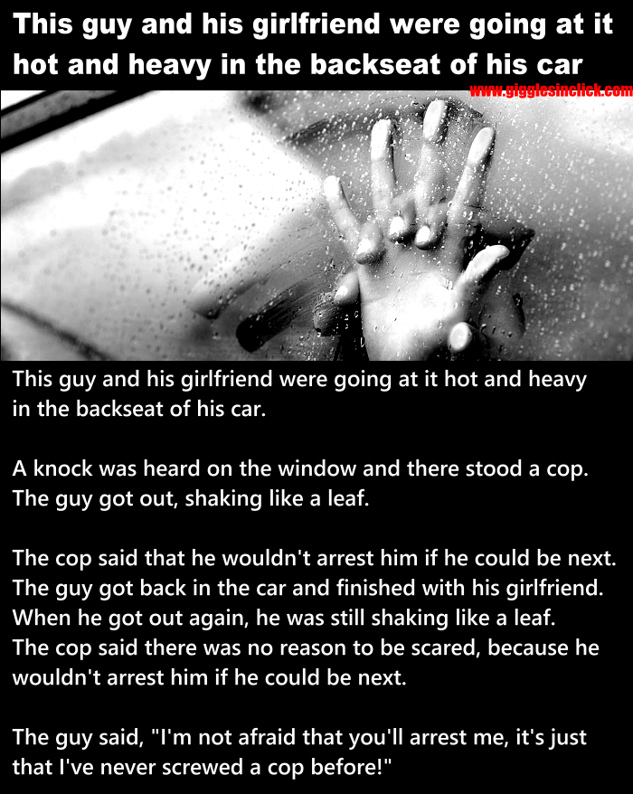 car sex, giggles, gigglesinclick, jokes, funny images, blonde, cop