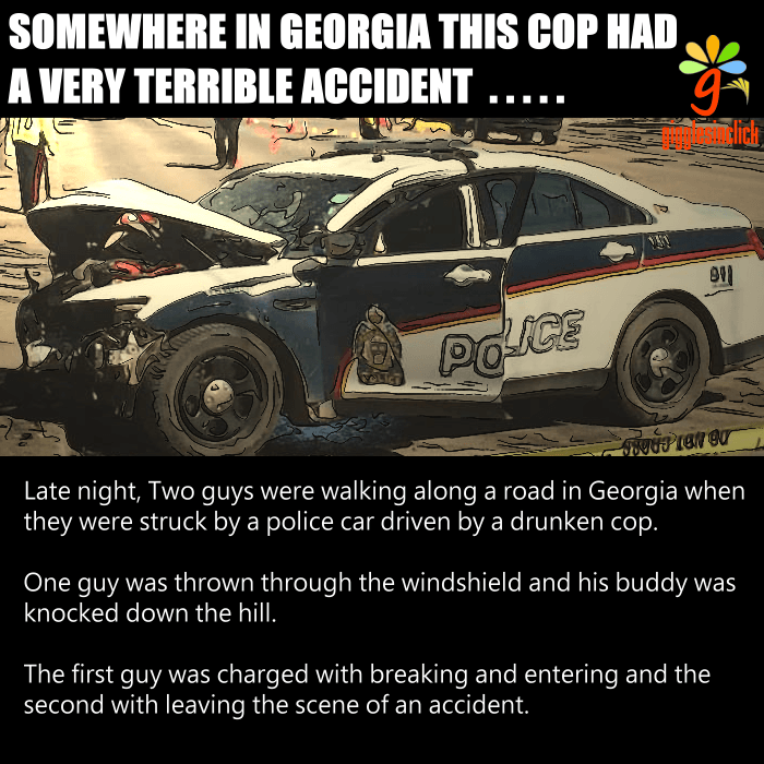 drunk cop, accident, georgia, hill, giggles, gigglesinclick.com, funny images, jokes, lol