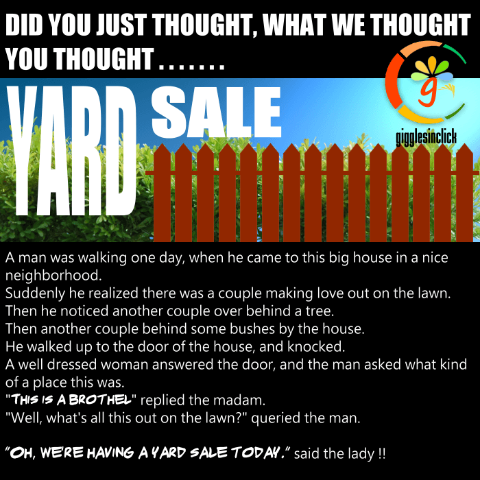 yard sale, sale, madam, lawn, tree, bushes, jokes, lol, funny images, giggles, gigglesinclick.com