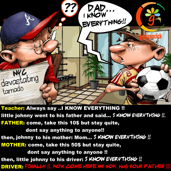 dad, dad, i know everything, everything, jokes, lol, giggles, gigglesinclick, kid, mother, teacher, school, learned