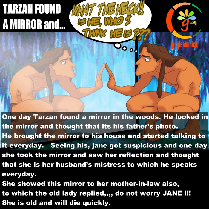tarzan, surprised, woods, mirror, giggles, gigglesinclick.com, lol, jokes