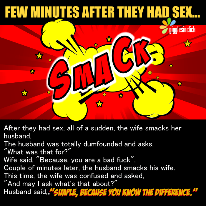 husband wife, slap, middle of night, night, sex, bad sex, joke, giggles, gigglesinclick.com, lol, shocked
