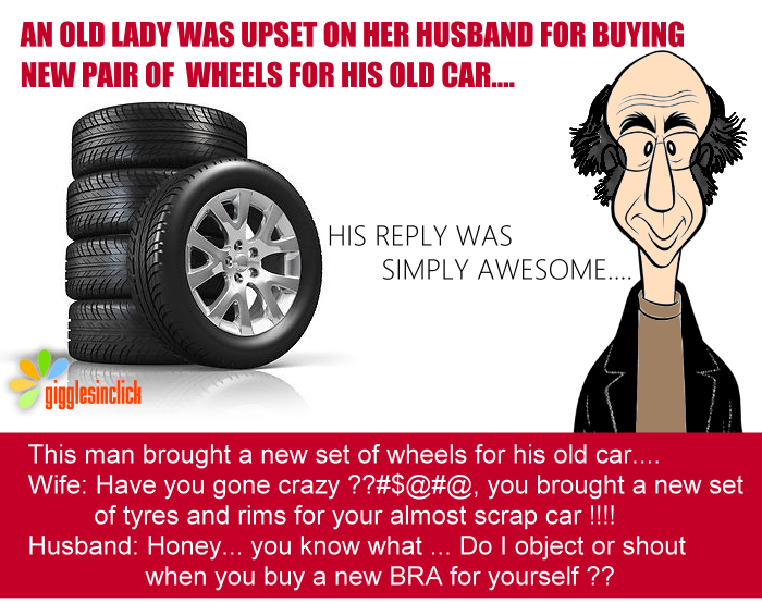 new tyres, car, old man, wife, shouting, giggles, gigglesinclick, jokes, funny