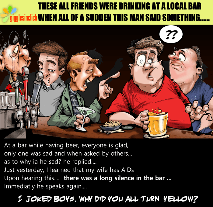 Friends, funny, wife, aids, sex, bar, drinks, jokes, glad, jolly
