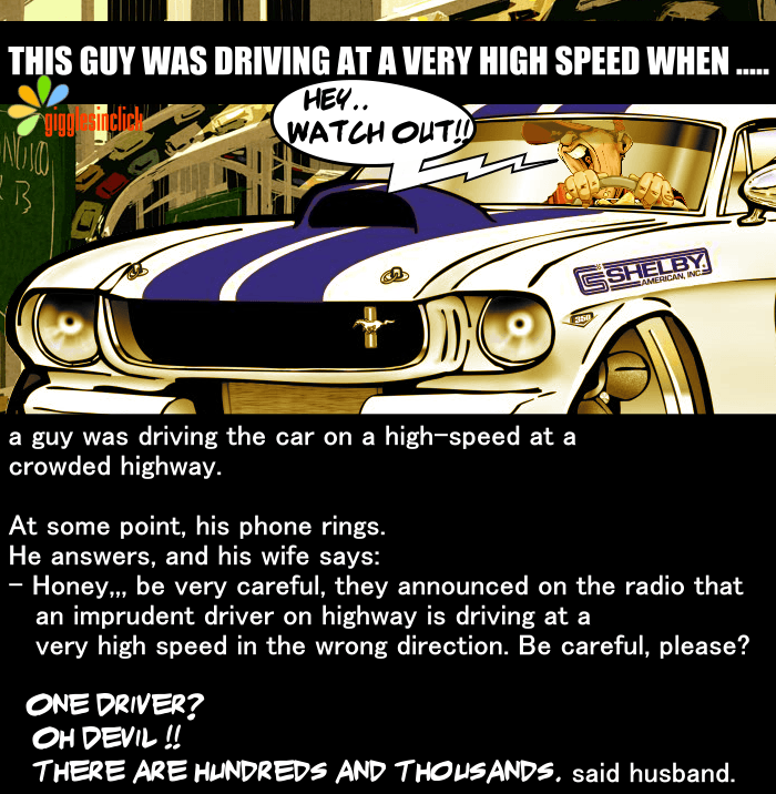 driver, wife, husband, guy, driving, highway, joke, lol, funny image, laughter, giggle, giggles, gigglesinclick